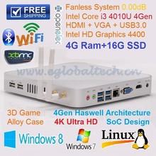 Smart TV BOX 4GB RAM 16GB SSD Fanless Mini Itx Case with Intel NUC i3 CPU for 4K Blu-ray Video HTPC Kodi Mini Computer Windows 7