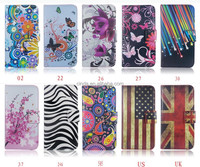 USA UK Flag Flower Series Leather Wallet Cover Case for Samsung Galaxy A5 A500F