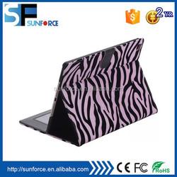 Universal flip auto wake/sleep function folio zebra skin cover for ipad 6/air 2