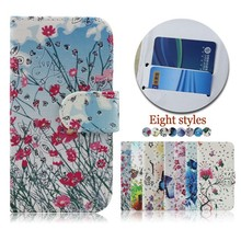 Flower Butterfly Pattern Flip Leather Cell Phone Case Cover for Alcatel C1