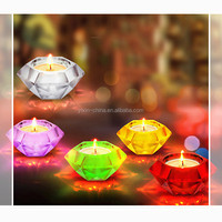 Diamond Shape Sprayed Color Decorative Crystal Centerpieces Votives Candle Holders