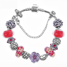 Fenghuo Fashion jewelry 2015 wholesale with red flower European bead fit charm bracelet for women as gift