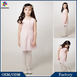 High Quality Cotton Frock Designs Pink/White Lace Flower Dresses Fashion Kids Girls Summer Party Free Prom Dress