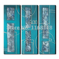 100% Hand-painted modern blue paintings for living room wall - 3 panel abstract wall art