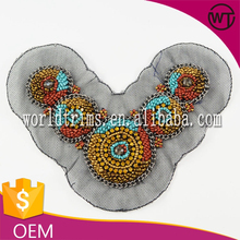 Hot sell rhinestone beaded applique work designs for dresses WTA11