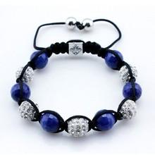 Black cord blue bead bracelet african handmade bracelet