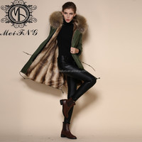 2015 latest unique women thick long winter coats with faux rabbit fur liner and raccoon fur collar