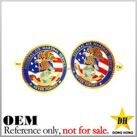 Fashion cheap round usa flag custom logo designer stainless steel cufflink