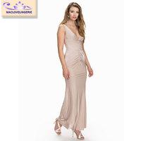 Maclove Hot Selling 2015 Ankle Length Fashion Bodycon Drape Sexy Mature Elegant Pleated Dress