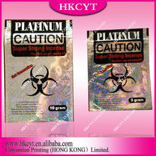EX-factory platinum caution herbal incense bag with 3g 10g