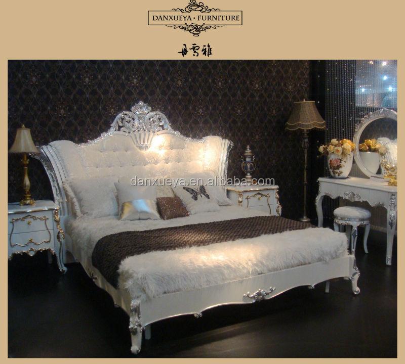 French Style Romantic Wedding Wooden Designs Double Bed