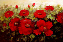 Red flower oil painting on canvas for home decoration