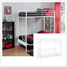 wholesale Home Furnishings White Twin over Futon Metal Bunk Bed