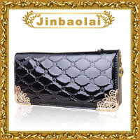 Patent leather Ling plaid wallet for iphone 5 wallet case
