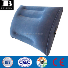 PROMOTIONAL custom flocking pvc inflatable back support portable lumbar support back support pillow cushion