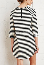 Classic stripes straight 7 minutes of sleeve dress