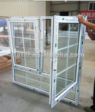 Plastic UPVC tilt and turn windows for house,new design for home windows,large glass window price for salement window