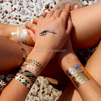 Sexy body skin safe temporary waterproof art metallic tattoo sticker