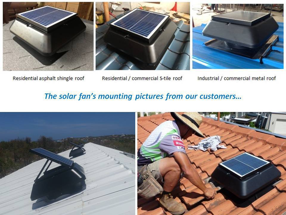 Solar roof ventilation fan for warehouse use