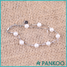 Factory price wholesale high quality silver pearl box chain bracelet