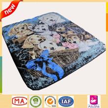customized king korean mink animal new design mora dog print polar fleece blanket