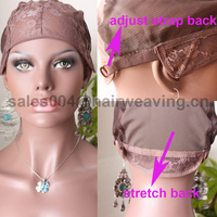 factory wholesale top grade lace cap for wig making stretch lace with adjustable straps back weaving cap for wig