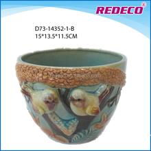 Antique ceramic cup shape garden bird flower pot