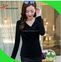top-end v-neck silk t shirts wholesale for young fashion women