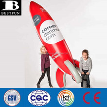 China custom made big inflatable rocket for sale jumbo plastic missile display inflatable advertising stand