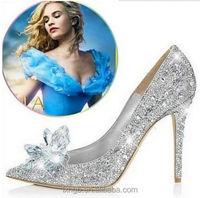 2015 Fashion Ladies crystal Pumps Cinderella Diamond Crystal Shoes Wedding Party rhinestone Shoes