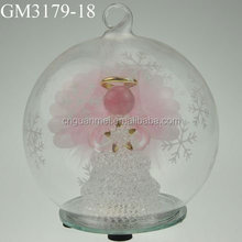decorative christmas glitter ball ornament with angel inside