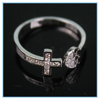 Hotselling antique brass rings zircon heart cross shaped ring designs top quality