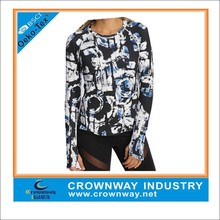 custom stylish dye sublimation printed womens long sleeve dry fit compression running shirts/top