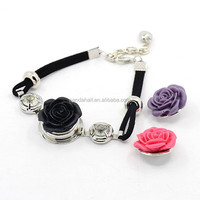 Pre-made Bracelet Snap Button Jewelry with 3 Flower Dice Interchangeable Snap Jewelry Buttons(BJEW-MSMC002-21)