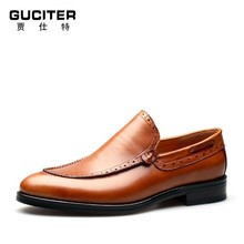 Personality fashion light tide shoes loafer genuine calf skin leather shoes men's handmade custom Head layer calf leather shoes