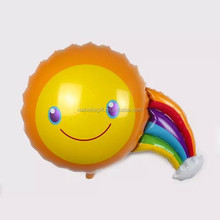 rainbow laughing sun shaped flying balloon toy, cheap cartoon foil balloons