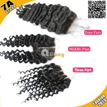Aliluxy 7A middle part/ free parting/ 3 part lace closure virgin malaysian remy hair closures