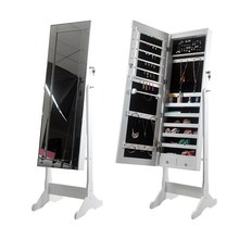 Over the Door Mirror with Storage Organizer for Ring& Earring