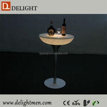 Recharge battery power illuminated bar table/ led tv table design/ led modern cocktail table for casino