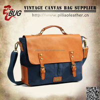 2015 Spring new arrival handled canvas leather messenger bag