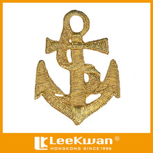 Custom anchor embroidery design metalic embroidered badge emblem for garment accessories