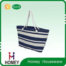 Newest Hot Selling Hot Quality Advantages Price Custom-Made Recycle Stripe Canvas Beach Tote Bag Wholesale