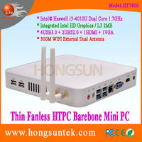 HT740A Intel Core i3-4010U 1.70GHz Dual Core with 4 Threads HTPC I3 Thin Client Fanless Barebone Mini Box PC