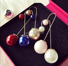 Double Sided Matte and Shining Ball & Pearl 360 Drops Earrings Gold Peekaboo