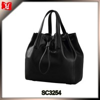 Classic black tote bag simple design drawstring handbag genuine leather
