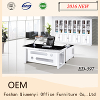 wooden office desk set, curved office desk, office table with side table ED-597#