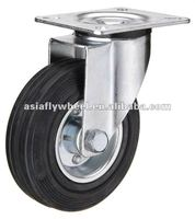 45 European type steel core black rubber swivel industrial caster wheel