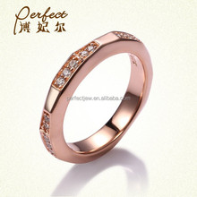 2015 newest ladies CZ silver design ring ,Rose gold plated CZ rings
