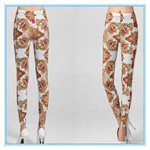 Seamless Designed Digital Print Leggings Nylon Spandex Material