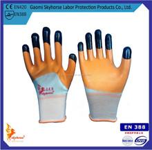 3/4 coated nitrile oil resistant working gloves, finger reinforced